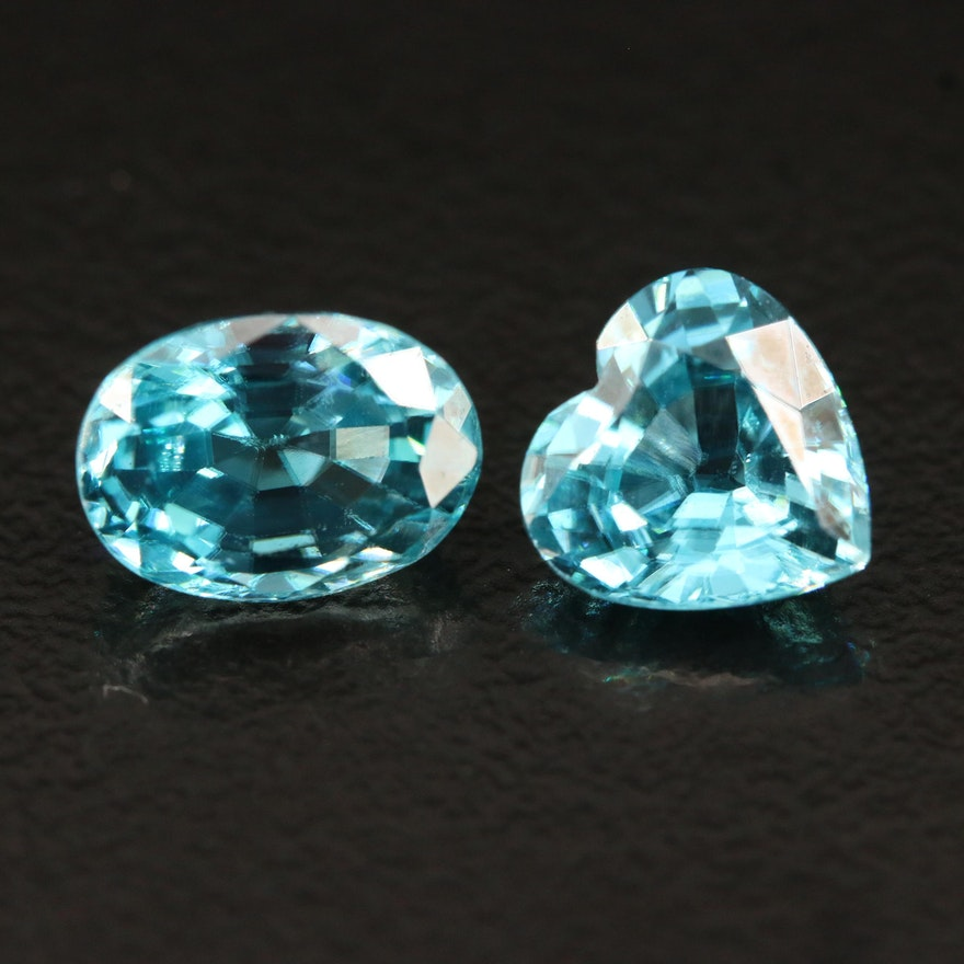 Loose 4.27 CTW Heart and Oval Faceted Zircon