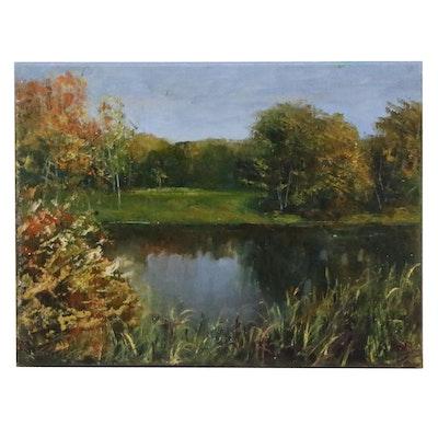 "Garncarek Aleksander Oil Painting ""Near the Pond"", 2020"
