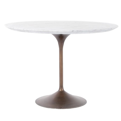 """Restoration Hardware """"Tulip""""  Carrara Marble Top Table with Aged Bronze Base"""