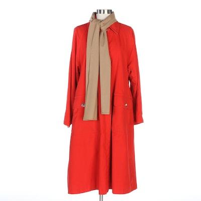 Bonnie Cashin Red Cotton Canvas Turnlock Coat, Vintage
