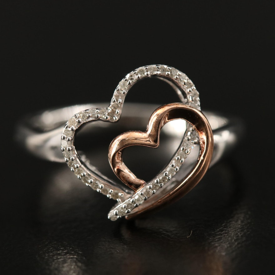 Sterling Silver Diamond Double Heart Ring