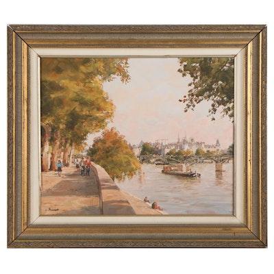 Claude Jousset Oil Painting of Parisian Scenery, 1995