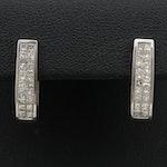 14K 1.20 CTW Diamond Hoop Earrings