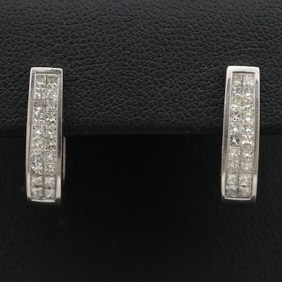 14K 1.20 CTW Diamond Hoop Earrings