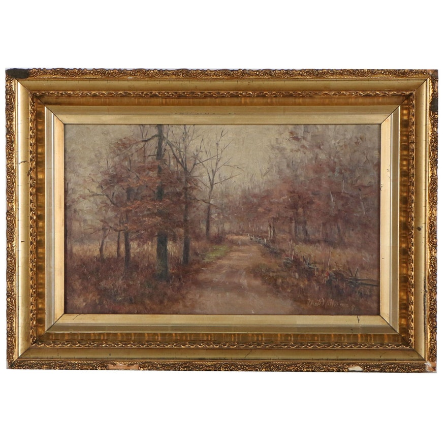 """M.D Williams Landscape Oil Painting """"Autumnal Forest Winding Road"""", 1898"""