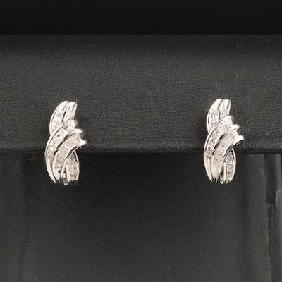 Sterling Silver Diamond J Hoop Earrings