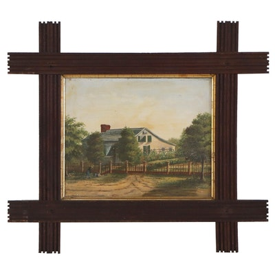 "Landscape Painting Attributed to Josiah Letchworth ""Home..."", 19th Century"