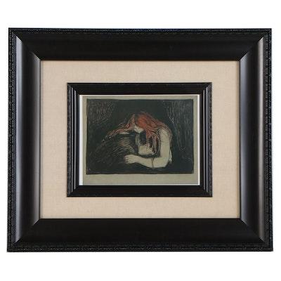 """Offset Lithograph after Edvard Munch """"Vampyr II"""", 21st Century"""
