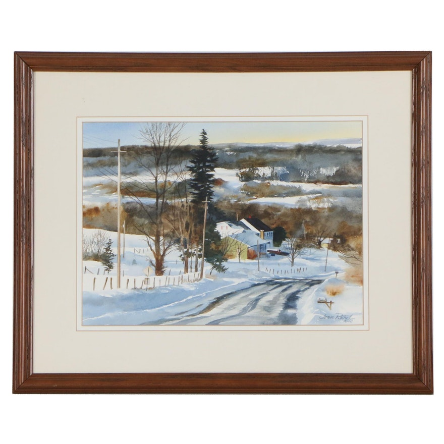 Joan Rothel Winter Landscape Watercolor Painting, Late 20th Century