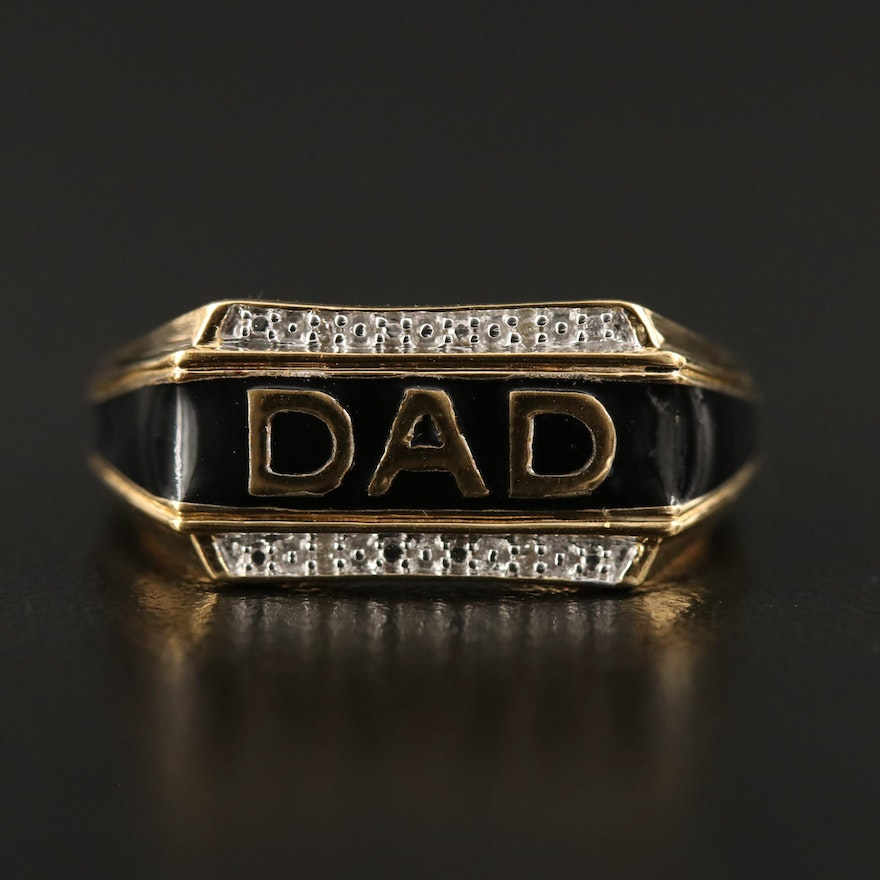 """Sterling Silver Diamond and Enamel """"DAD"""" Ring"""