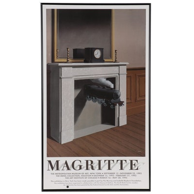 """Surrealist Offset Lithograph Exhibition Poster """"Magritte"""", Circa 1992"""