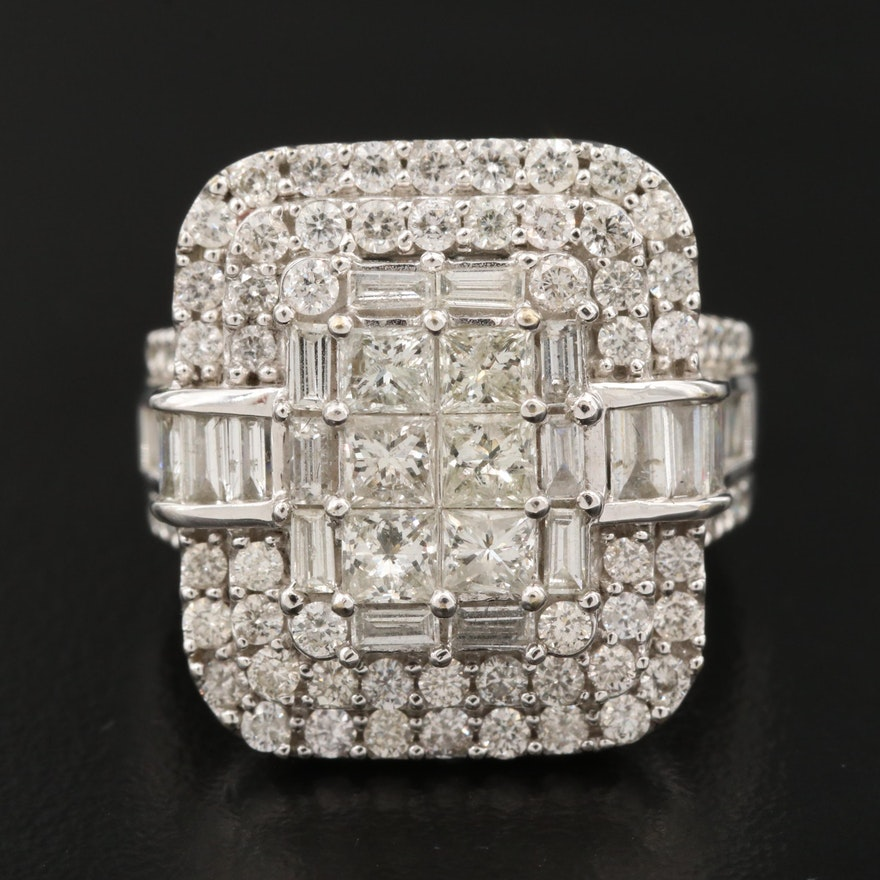 14K 3.08 CTW Diamond Cluster Ring