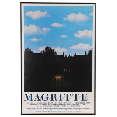 "Surrealist Offset Lithograph Exhibition Poster ""Magritte"", Circa 1992"