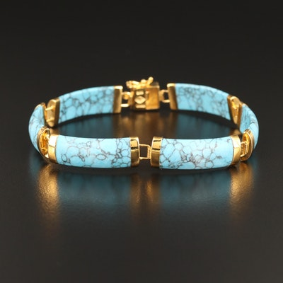 Sterling Faux Turquoise Rectangular Link Panel Bracelet