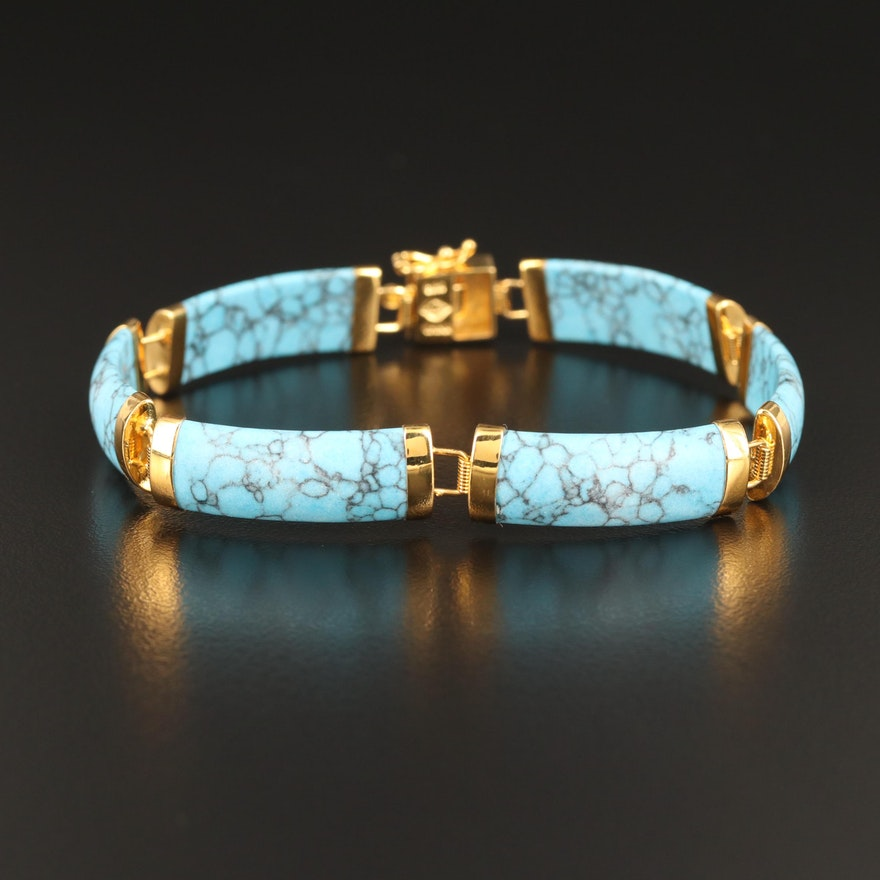 Sterling Faux Turquoise Rectangular Link Panel Bracelet