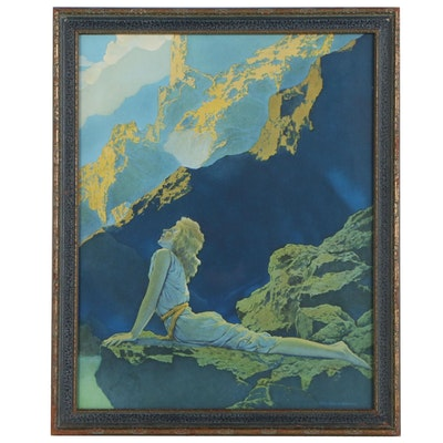 "Offset Lithograph after Maxfeild Parrish ""Lady on Cliff Mountains"""
