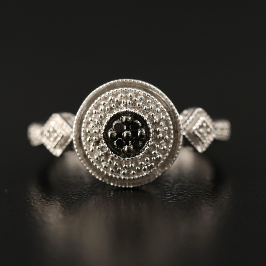 Sterling Silver Geometric Diamond Ring with Black Diamonds