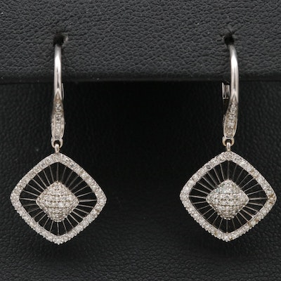 14K Diamond Openwork Dangle Earrings