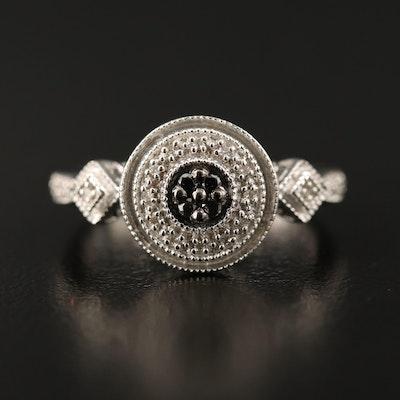 Sterling Silver Diamond Geometric Ring