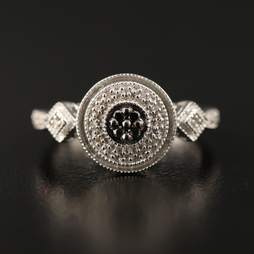 Sterling Silver Diamond Geometric Ring