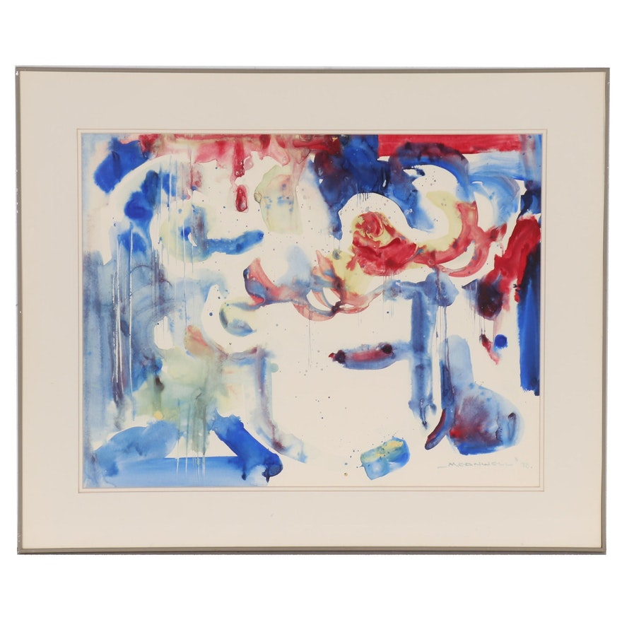 Jack Meanwell Abstract Watercolor Painting, 1978