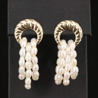 14K Earrings Featuring Rice Pearl Hoops