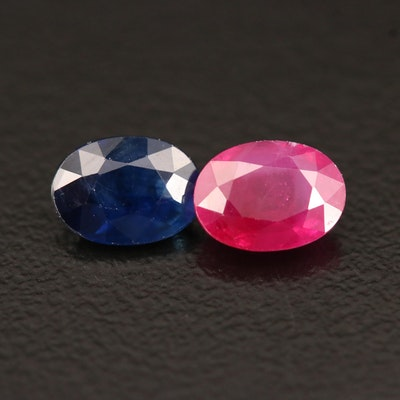 Loose 2.05 CTW Oval Faceted Ruby and Sapphire