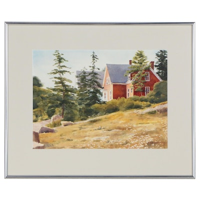 Dee Stegman Watercolor Painting Landscape with Red House, Late 20th Century