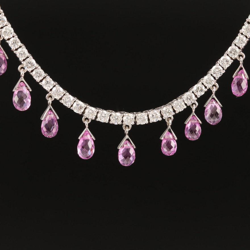 18K Sapphire and 9.17 CTW Diamond Fringe Necklace