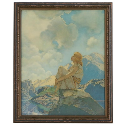 "Offset Lithograph after Maxfield Parrish ""Morning"", Circa 1922"