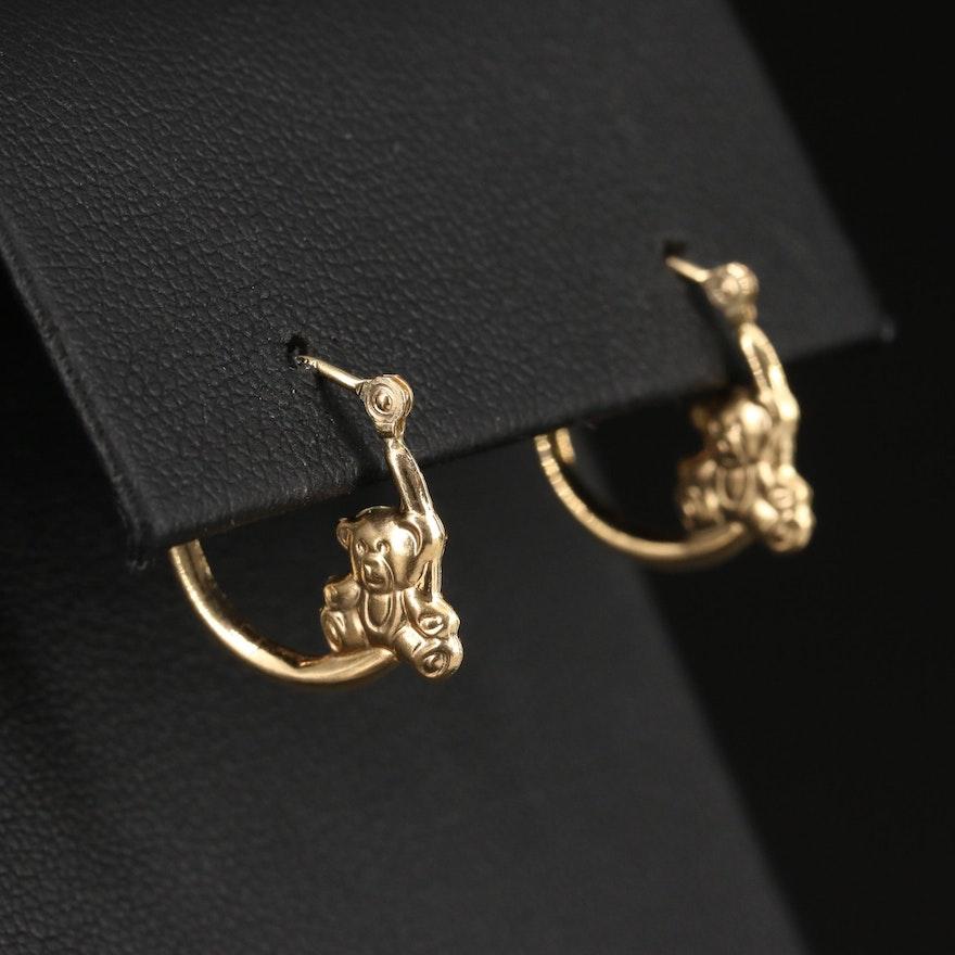 14K Teddy Bear Hoop Earrings