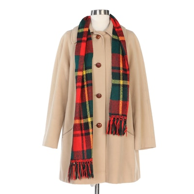 Fashionbilt Casuals Wool Coat and Fringed Plaid Scarf, Vintage