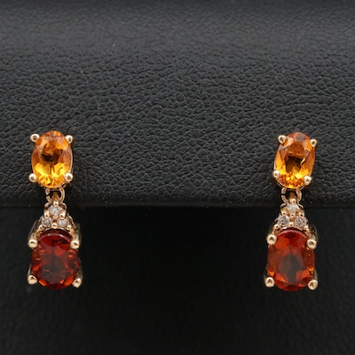 14K Citrine, Garnet and Diamond Drop Earrings