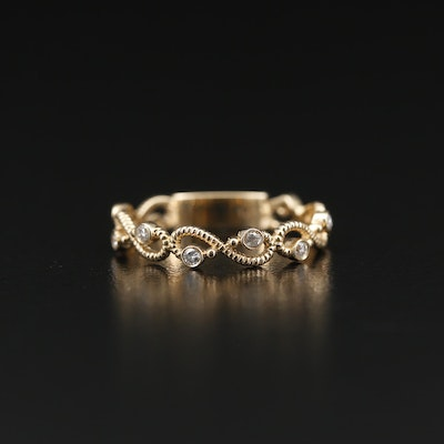 14K Gold Bezel Set Diamond Infinity Band
