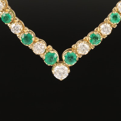 14K Diamond and Emerald Graduated Chevron Necklace