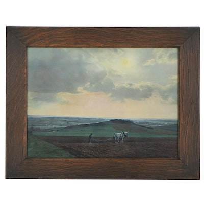 Chromolithograph with Farmer Plowing Field, Early to Mid 20th Century