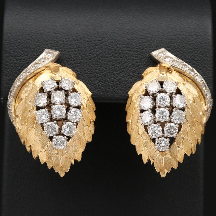 14K and Palladium 3.48 CTW Diamond Cluster Earrings