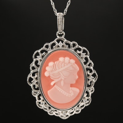Sterling Silver Cameo Pendant Necklace Featuring Sapphire and Diamond Accents