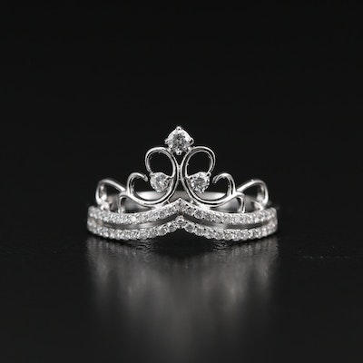14K Diamond Tiara Motif Ring