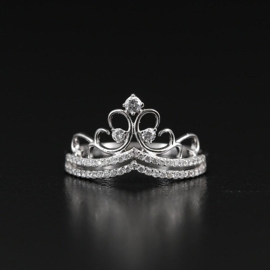 14K Diamond Tiara Motif Ring