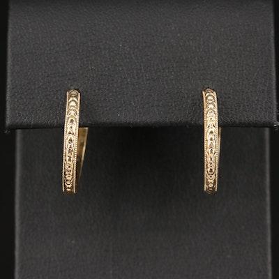 14K Foliate Pattern Hoop Earrings