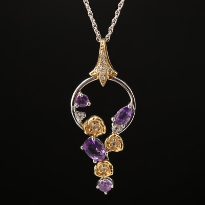 Sterling Silver Amethyst, Topaz and Diamond Pendant Necklace