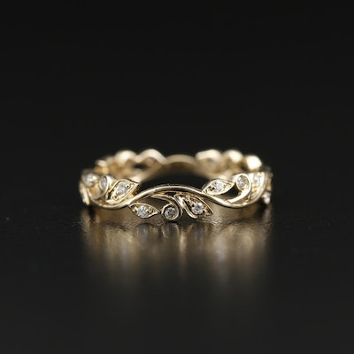 14K Diamond Foliate Band