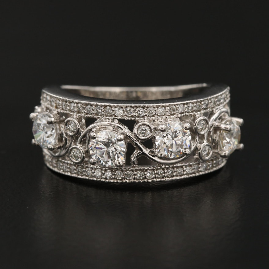 14K 1.51 CTW Diamond Openwork Ring