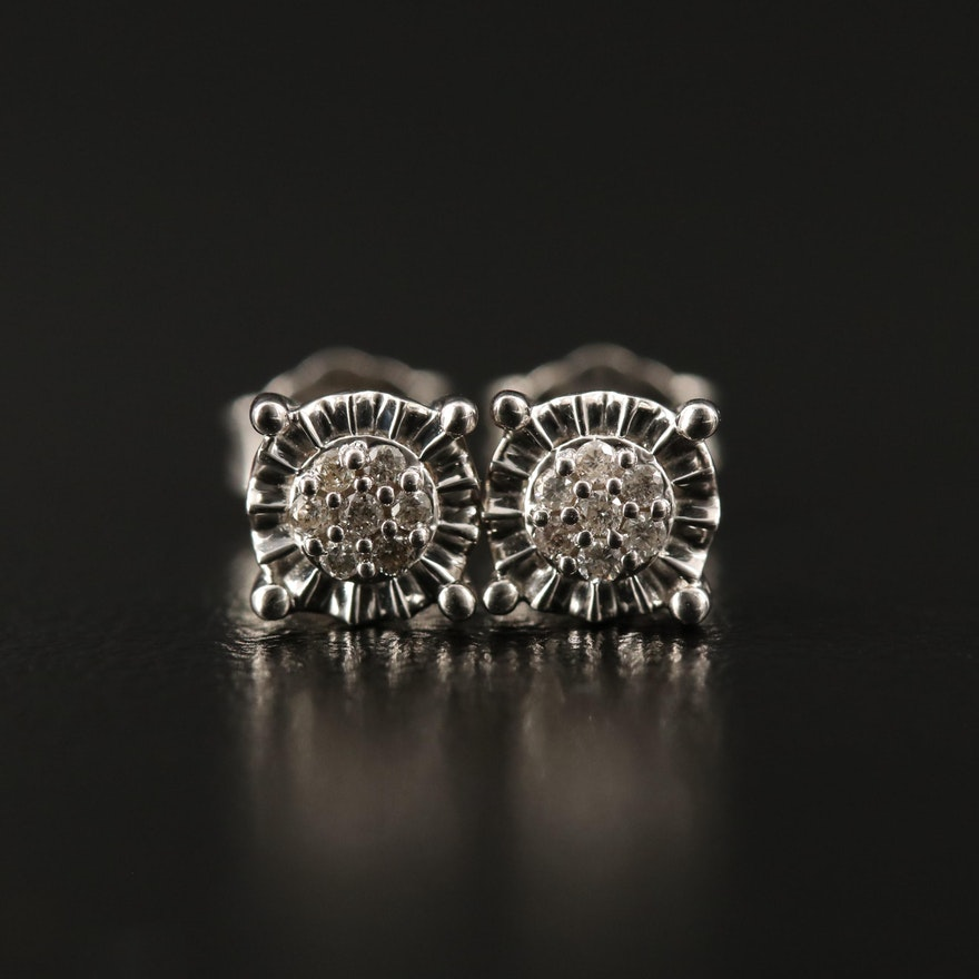 Sterling Silver Diamond Cluster Stud Earrings