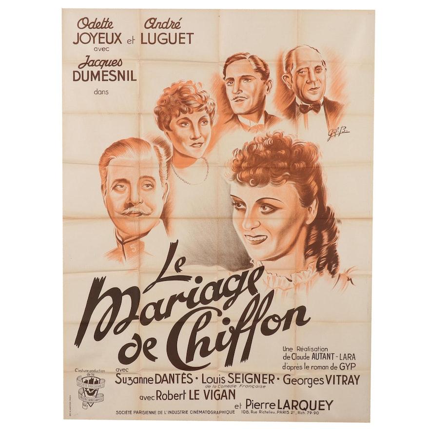 "Lithograph Movie Poster for ""Le Mariage de Chiffon"", Circa 1940"