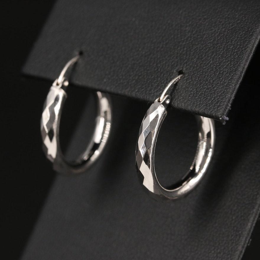 14K Faceted Hoop Earrings
