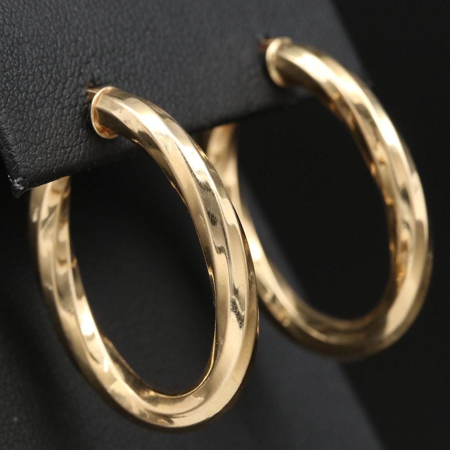 14K Twisted Elongated Hoop Earrings