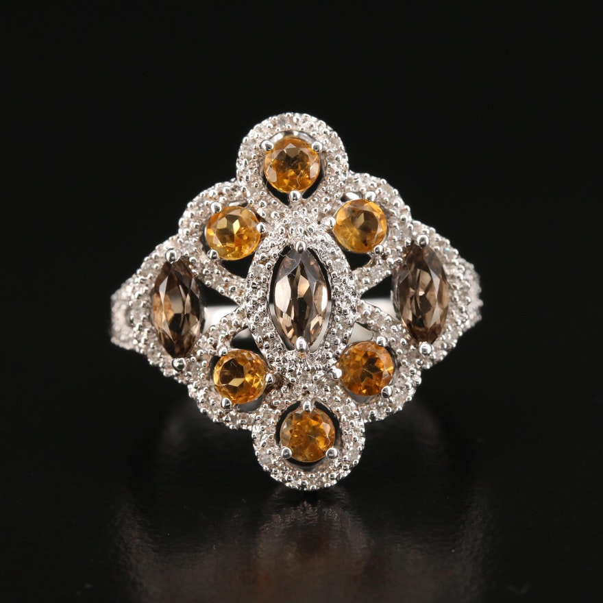 Sterling Silver Citrine, Smoky Quartz and Diamond Ring
