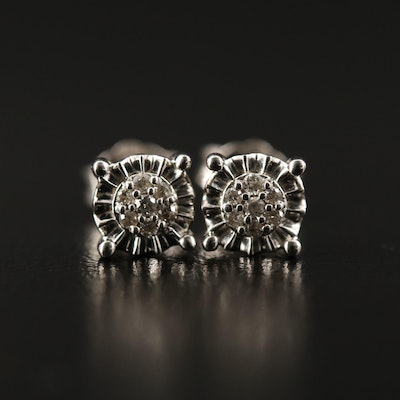 Sterling Diamond Cluster Stud Earrings